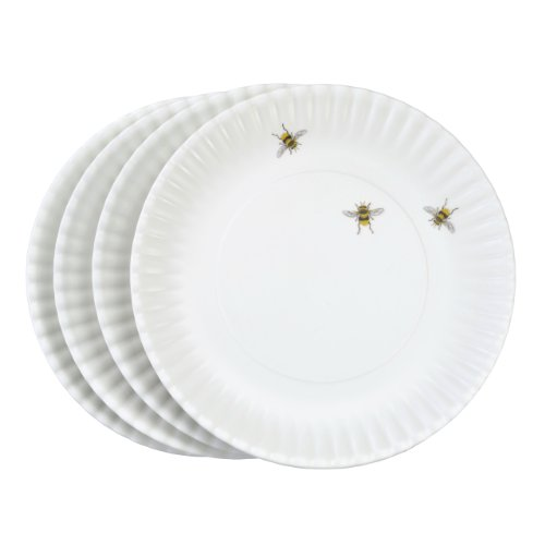 Whimsical design printed with 3 bees. Includes a set of 4 plates. Made to look like traditional white paper plates but they are not paper.  sc 1 st  Niceu0027n Fun & 180 Degrees ME0036 u201cWhat Is It?u201d Reusable White Dinner Plate with ...