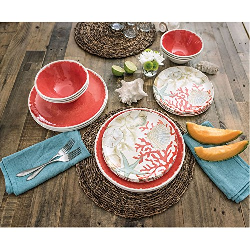 18 Piece Melamine Dinnerware Set Sealife Design Coral Sea Shells  sc 1 st  Niceu0027n Fun & 18 Piece Melamine Dinnerware Set Sealife Design Coral Sea Shells ...