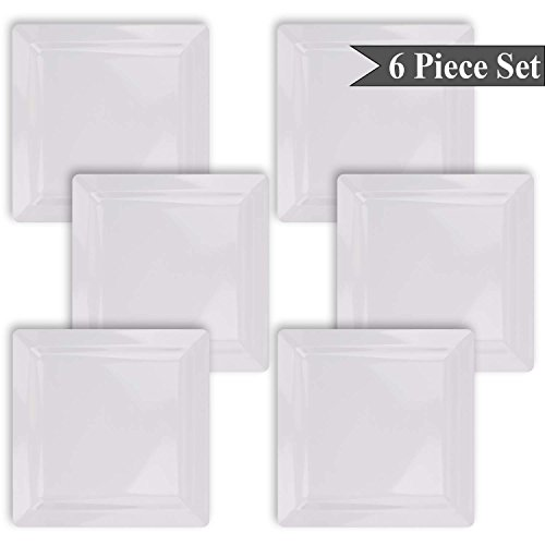 Easy to clean dishwasher or hand wash these BPA-free plates are heat resistant; however they are not recommended for microwave or oven use.  sc 1 st  Nice\u0027n Fun & Square White Melamine Dinner Plates Set of 6 Indoor Outdoor by bogo ...