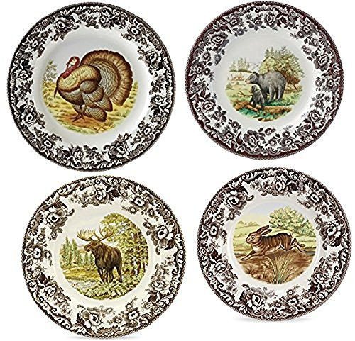 Includes 4 assorted 105  dinner plates turkey Black Bear Moose u0026 Rabbit. Full-color image of North American animal shown in natural setting.  sc 1 st  Niceu0027n Fun & Spode 1607262 Woodland Red Fox Dinner Plate u2013 Niceu0027n Fun