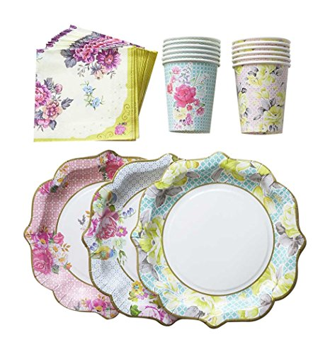 12 -8 oz floral paper Cups in 2 unique designs not suitable for hot drinks. This bundle of talking tables Truly Scrumptious plates cups and napkins will ...  sc 1 st  Niceu0027n Fun & Floral Print Paper Plates Cups Napkins 12 Plates 12 Cups 30 ...