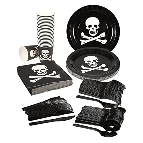 Disposable Dinnerware Set \u2013 Serves 24 \u2013 Pirate Party Supplies \u2013 Includes Plastic Knives Spoons Forks Paper Plates Napkins Cups Black White  sc 1 st  Nice\u0027n Fun & Disposable Dinnerware Set \u2013 Serves 24 \u2013 Pirate Party Supplies ...