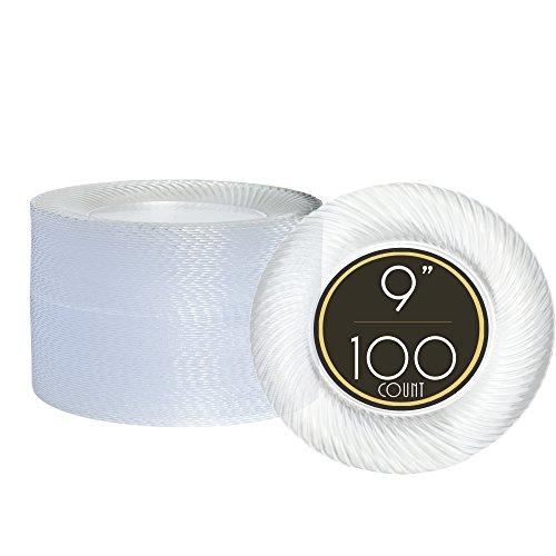 9 Inch Fancy Disposable Plastics Plates – 100 Premium Clear Plastic ...