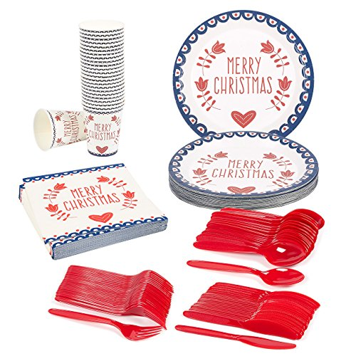 Christmas Paper Plates And Napkins.Includes Plastic Knives Spoons Forks Paper Plates