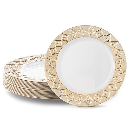 5  appetizer plate gold rim white 40 pk elegant - providing the look of china at a fraction of the cost and has none of the related storage and transport ...  sc 1 st  Niceu0027n Fun & VINTAGE PLASTIC PARTY DISPOSABLE PLATES | 10.25 Inch Hard Round ...
