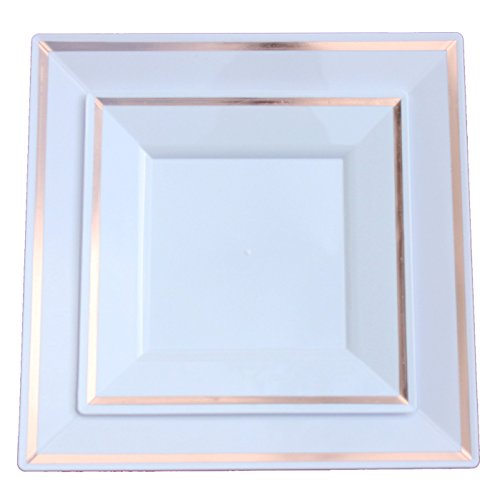 Exquisite Reflective Plastic Plates-60 Peices Premium Heavyweight ...