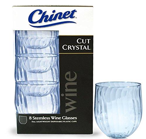 Chinet Cut Crystal 15oz Stemless Wineglass 40ct – Nice\'n Fun