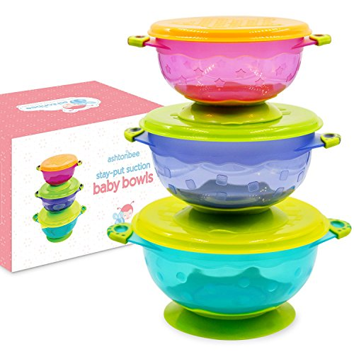 Messy Cups Plates: Suction Bowl For Toddlers, Set Of 3 Stackable Feeding