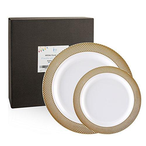60 Pack Gold Plastic Plates, Disposable Wedding Plates, Elegant ...