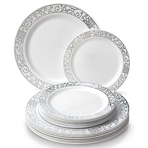 Sturdy plates wonu0027t easily snap sag or break designed with wide rims to avoid spills. Make your planned celebrations special with our beautiful Venetian ...  sc 1 st  Niceu0027n Fun & Party Disposable 40pc Dinnerware Set | 20 Dinner Plates | 20 Salad ...