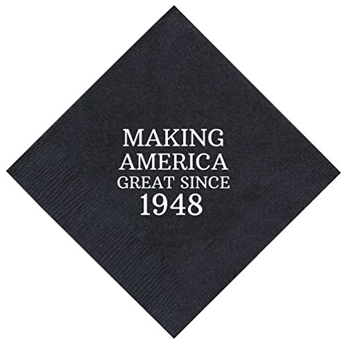 70th Birthday Gifts Making America Great Since 1948 Party Supplies 50 Pack 5x5 Napkins Cocktail Black