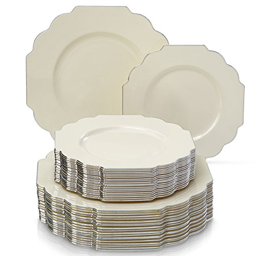Change the look of your table and awe your guests with these Baroque Collection 40 Pieces White Silver Dinnerware Plates. All our products undergo strict ...  sc 1 st  Niceu0027n Fun & Party Disposable 40 pc Dinnerware Set | 20 Dinner Plates and 20 ...