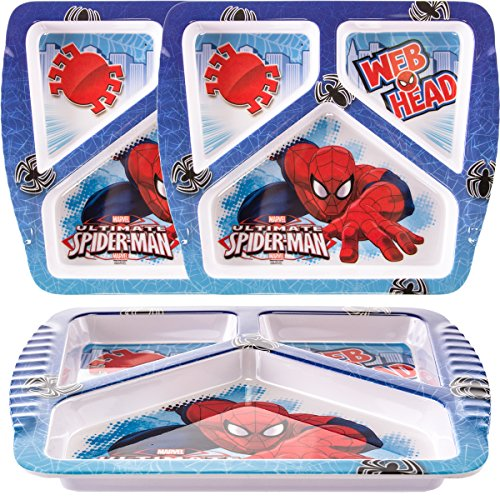Zak 3 Pack Spiderman Character Themed Plastic 3 Section