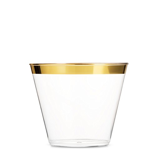 100 Gold Plastic Cups ~ 9 Oz Clear Plastic Cups Old Fashioned Tumblers ~ Gold Rimmed Cups Fancy Disposable Wedding Cups ~ Elegant Party Cups with Gold Rim  sc 1 st  Niceu0027n Fun & 102 Pieces Gold Plastic Plates White Party Plates Premium ...