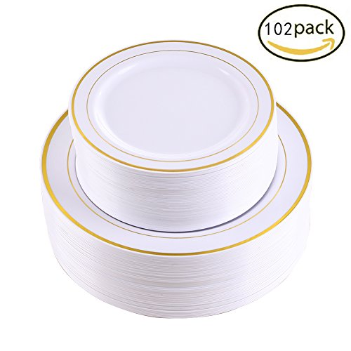 We want you to be a happy customer! ecofriendly recyclablE CHOICE Hard plastic plates can be recycled to help save the environment and reduce a carbon ...  sc 1 st  Nice\u0027n Fun & 102 Pieces Gold Plastic Plates White Party Plates Premium ...