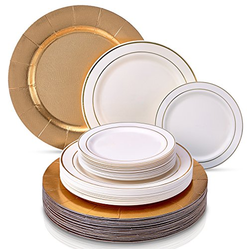 MODERN ELEGANT ECONOMICAL HEAVY PLASTIC PLATES Disposable Dinnerware Set | Golden Glare Collection by Silver Spoons | 60 Pcs | 20 X Charger Plates 20 X ...  sc 1 st  Niceu0027n Fun & MODERN ELEGANT ECONOMICAL HEAVY PLASTIC PLATES Disposable Dinnerware ...