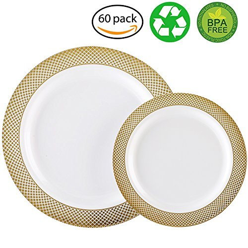 60PCS Heavyweight White with Gold Rim Wedding Party Plastic Plates Dinnerware Sets30-10.25inch Dinner Plates and 30-7.5inch Salad Plates -WDF White/Gold ...  sc 1 st  Niceu0027n Fun & 60PCS Heavyweight White with Gold Rim Wedding Party Plastic Plates ...