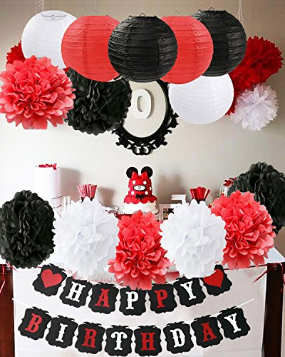 Furuix Mickey Mouse Birthday Party Decorations White Red Black Minnie Supplies Tissue Paper Pom Flowers