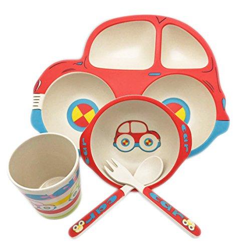 7u Bamboo Dinnerware Set For Kids Toddler Divided Car Plate Bowl
