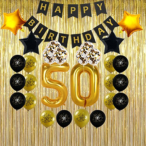 Great Value For 50th Birthday Decoration Pack Including Happy Banner 4x Star Balloons 16x Latex And 6x Confetti
