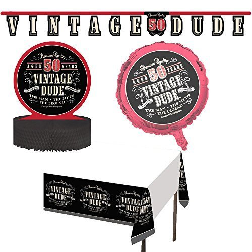 Vintage Dude 50th Birthday Jointed Banner Fifty The Man Myth Legend Decorations