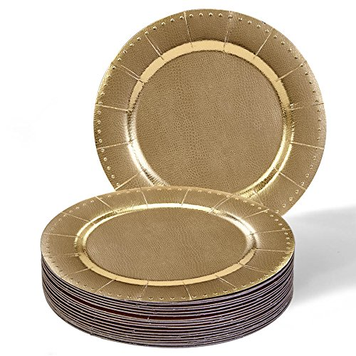 This Placesetting Is To Die Gold Charger Champagne: DISPOSABLE ROUND CHARGER PLATES
