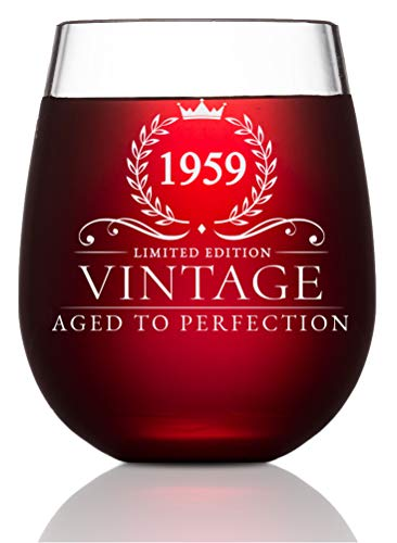 Vintage 1959 Wine Glass 60th Birthday Gifts For Women And Men Turning 60 Years Old