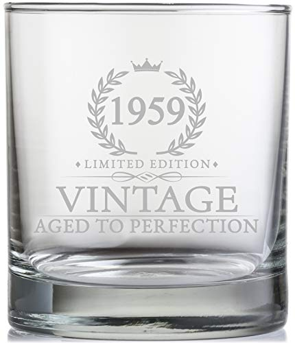 11 Oz Vintage 1959 Whiskey Glass 60th Birthday Gifts