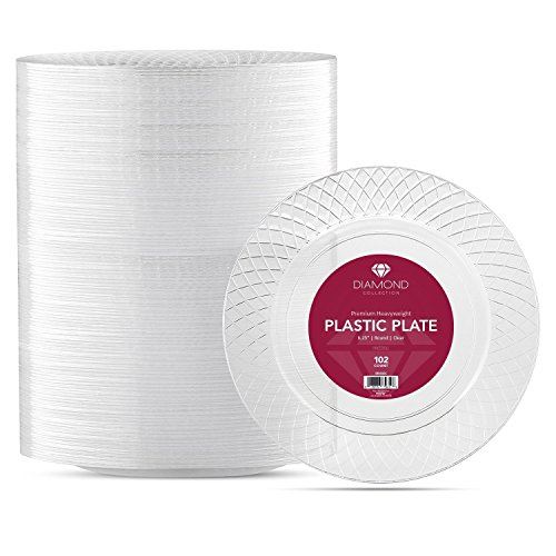 102 Crystal Clear Plastic Plates 6 25 Inch Disposable Fancy Dessert Hard Round Party Elegant Etizer Heavy Duty